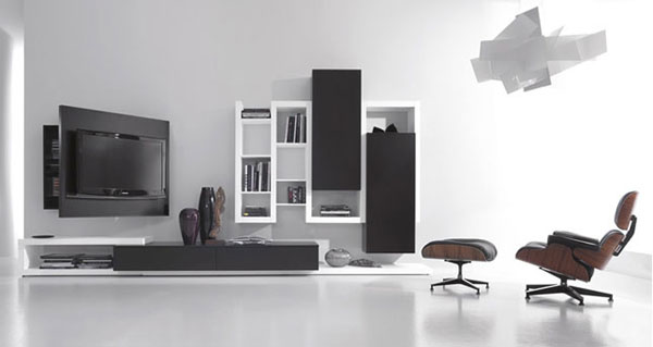 Black-and-white-living-room-furniture-with-functional-tv-stand-creative-side-system-by-Fimar-1