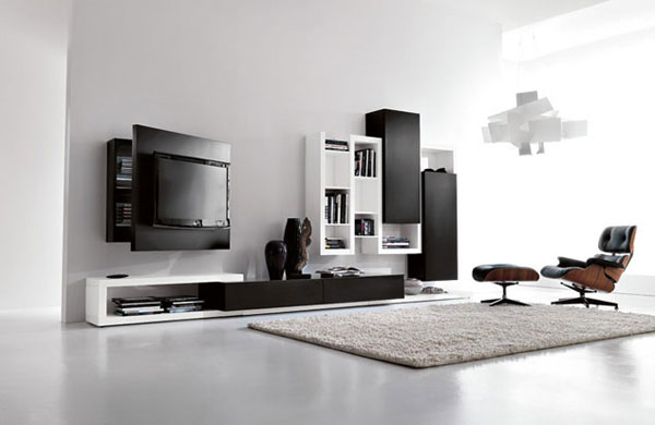 Black-and-white-living-room-furniture-with-functional-tv-stand-creative-side-system-by-Fimar-2