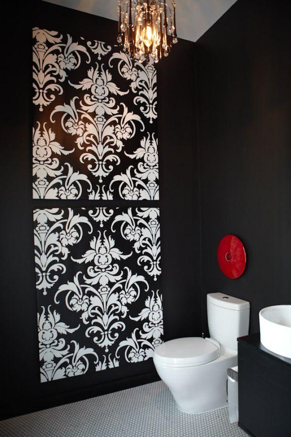 Дизайн туалета в черно белом цвете
